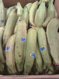 Plantains at market stand.